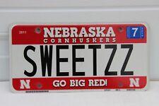 Nebraska License Plate Cornhuskers personalized  SWEETZZ  Go Big Red U Nebraska