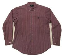 Ralph Lauren Large Long Sleeve Button Down Shirt - Red And Blue Striped- POLO