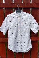 Men's Farah Cotton Short Sleeve White Patterned Summer Shirt Size Med Slim Fit