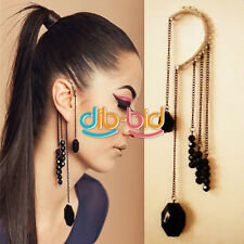 1Pc Cool  Rock Punk Exquisite Black Beads Long Tassels Ear Cuff Earring HF #Z