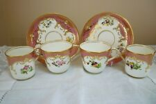 ANTIQUE 19TH C HAND PAINTED ENGLISH PORCELAIN TRIOS X 2 FLOWERS GILDED SWAGS