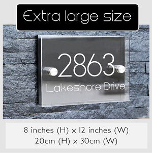 LARGE SIZE - Personalized Modern House Number Door Signs Plaque Street Acrylic