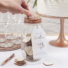 Pretty Rose Gold wedding wishes jar & 100 wooden hearts Guest Book alternative