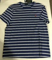 Polo Ralph Lauren Men's Sz L Crew T-Shirt Custom Slim Fit Pony Logo Blue White