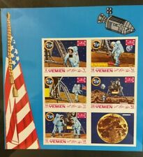 Yemen Space Souvenir Sheet Commentating Landing on the Moon