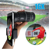 16x52 Zoom Hiking Monocular Telescope Lens Camera HD Scope Hunting +Phone Holder