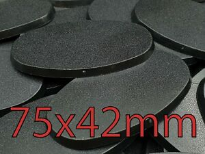 75x42 Oval Plain Wargame Bases Warhammer AOS Plastic