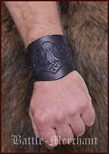 Leather Wrist Bracer embossed Antique Black Sleeve Medieval Viking Guard Thor