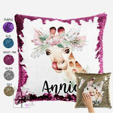 Giraffe Cushion Cover  -  Personalised Sequin Cushion Cover Throw Pillow Gift