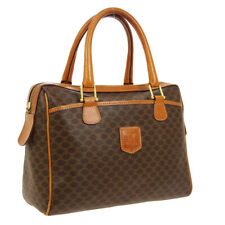 CELINE Macadam Pattern Boston Hand Bag M91* Brown PVC Leather VTG A46611h