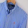 Mens Polo Ralph Lauren Blue White Stripe Slim Fit Long Sleeve Shirt Size S Small