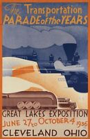 """Vintage Illustrated Travel Poster CANVAS PRINT Transport Expo Ohio 1936 8""""X 12"""""""