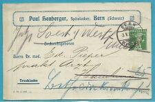 Schweiz Ganzsachenkarte aus 1909 mit Werbung, Stempel 3.5.09 BERN über Hamburg!