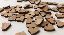 100 Streudeko Holz Teile Herz Tischdeko Hochzeit Dekoherzen MINI schräg Dunkel