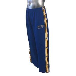 Ralph Lauren POLO SPORT Warm Up Pants Men's Large L Blue Fleece Lined Snap-Off