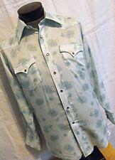 COOL Vtg 70s H Bar C Mens Western Shirt Baby Blue Floral Purple Pearl Snaps M-L