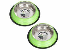 Iconic Pet 4 Cup Non-Skid Pet Bowl for Dog or Cat (2 Pack), Green, 32 oz