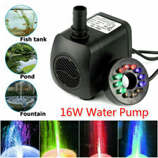 16W Submersible Water Pump with LED Lights for Fountain Pool Garden US Plug