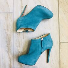 Barney's Co-Op Platform Ankle Boots 7.5 Suede Leather Booties Turquoise Aqua