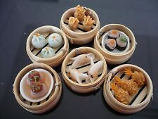 Set of 6 Dim Sum Chinese Cuisine Handmade Dollhouse Miniatures Food Deco 1