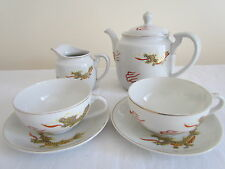 VINTAGE JAPANESE DRAGON GEISHA LITHOPHANE TEA POT, MILK JUG + 2 CUPS AND SAUCERS