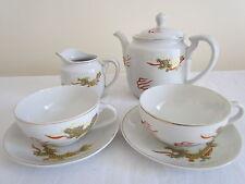 VINTAGE JAPANESE DRAGON GEISHA LITHOPHANE TEA POT, MILK JUG + 2 CUPS AND SAUCERS