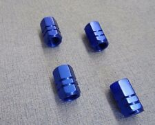 VW BEETLE BLUE METAL DUST VALVE CAPS TYRE WHEEL ALUMINIUM SOLID HEXAGON COVER