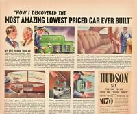 1940 Hudson Automobile Vintage Print Ad Hudson Six The Car To See
