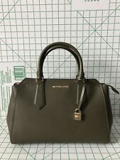 NWT Michael Kors Hayes Large Pebbled Leather Zip Top Satchel Bag Olive/Ballet