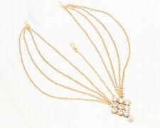 New Indian Bollywood Gold Tone Pearl Hair Head Chain Forehead Maangtikka Jewelry