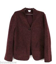 Eileen Fisher Boiled Wool Blend Jacket 1 Button Fall Maroon /Charcoal Womens M