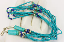 Lapis Lazuli Blue Turquoise Necklace Persian  five strand silver chain 18 inch