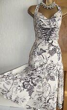 STUNNING ❤️ KAREN MILLEN SIZE 10 12 IVORY CREAM FANTASY GARDEN CORSET SUN DRESS