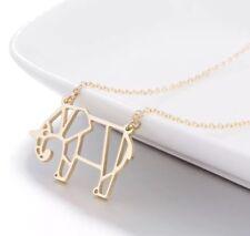 Origami Gold Elephant Animal Necklace, Geometric Elephant Necklace