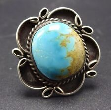 Classic Vintage NAVAJO Sterling Silver & TURQUOISE RING, size 8