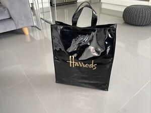 """Harrods Large 18""""premium Sugnature Blk Pvc Top Handle Shopper Bag Gold Logo"""