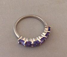 C1980s Tanzanite Set Sterling 0.925 Silver Ladies Ring Size M
