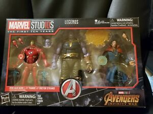 Marvel Legends First 10 Years Thanos Iron Man Dr strange 3 Pack NEW