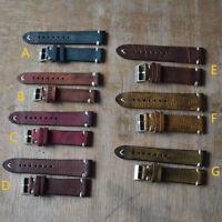 Fashion Vintage Genuine Leather Wrist Watch Band Strap Belt 18/20/22/24mm CR