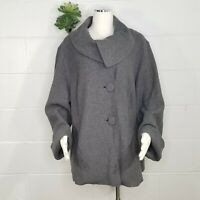 Sandro Gray Cowl Neck Button Front Jacket Size 1X Two Pockets Bell Sleeves