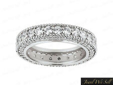 1.60Ct Round Diamond Milgrain Eternity Band Ring w/ Accents 14k White Gold G Si1