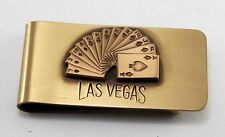 """Vintage """" LAS VEGAS"""" DECK OF CARDS Solid  Brass Money Clip New Old Stock"""
