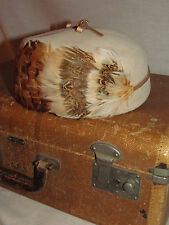 Vtg Feathers Womens Pillbox Hat Dressy Art Deco 1920s 30s 40s Small Medium Brown