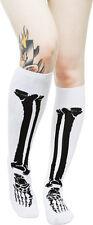 """78085 White with Black Bones 17"""" Knee High Socks Sourpuss Roller Derby Skeleton"""