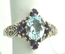 Blue Topaz Amethyst Ring Gr 53 Silver 925 Sterling Silver ANTIQUE STYLE