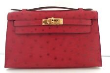 New Hermes Kelly Pochette Rouge Vif Red Ostrich Bag Gold Hardware 17yrs on eBay