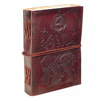 Fair Trade Handmade Eco Large Ganesh Design Embossed Leather Journal Notebook