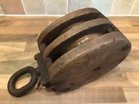 Large Vintage Ships Double Pulley Block Maritime Marine Boat Nautical