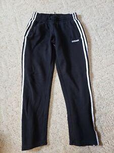 Adidas womens black fleece pants with white stripes size Small