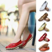 Womens Casual Leather Shoes Ballet Flats Shoes Oxfords Hollow Lady Loafers New